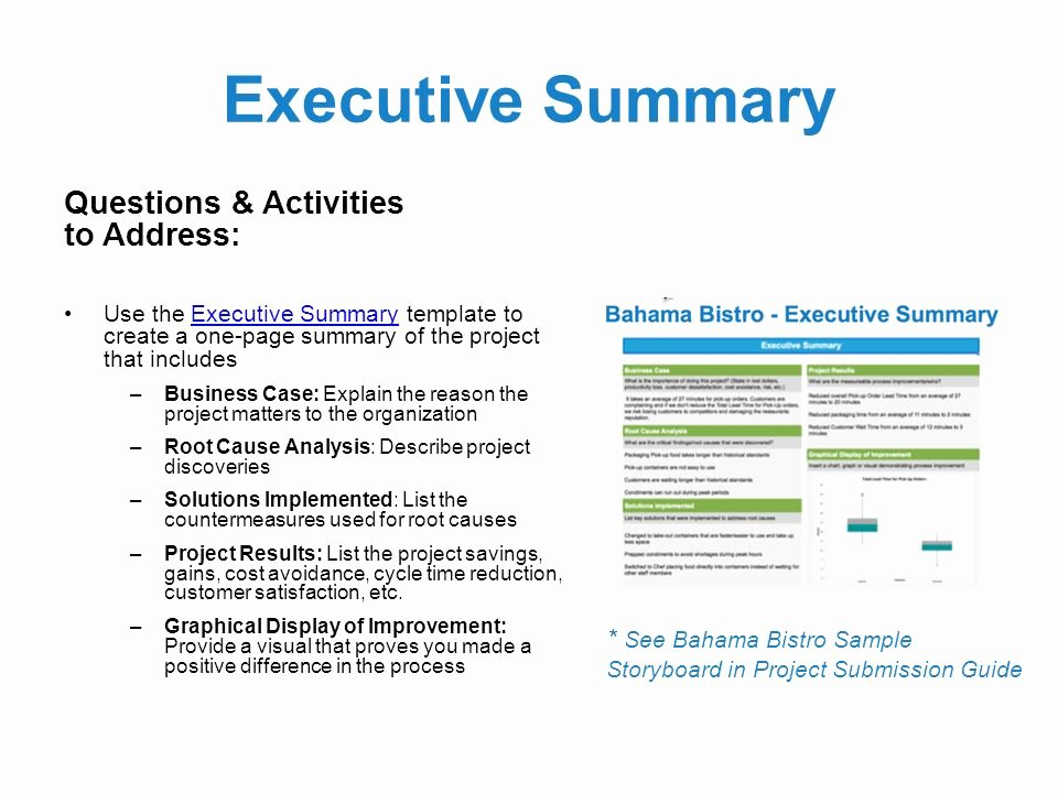 Project Executive Summary Template Awesome Black Belt Project Storyboard Template Can Be Used In