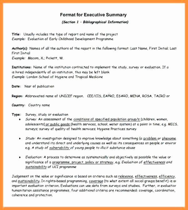 Project Executive Summary Template Awesome Executive Summary Template for Report Pics – 31 Executive