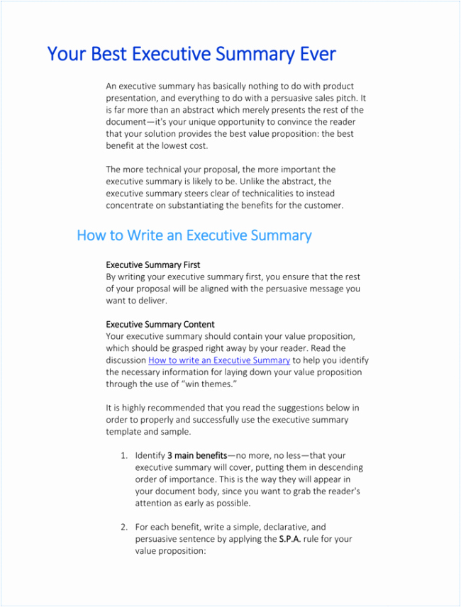 Project Executive Summary Template Fresh 5 Executive Summary Templates for Word Pdf and Ppt