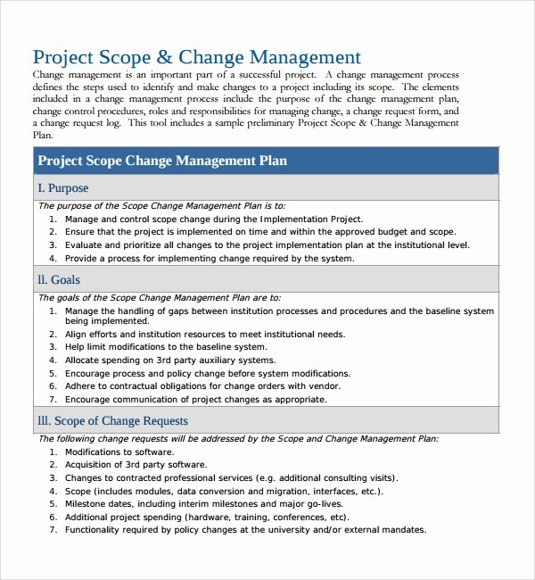 Project Management Plan Template Luxury Sample Change Management Plan Template 13 Free