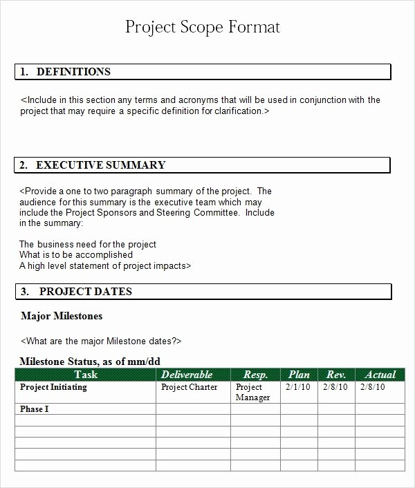 Project Outline Template Word Lovely Free 7 Sample Project Scope Templates In Pdf