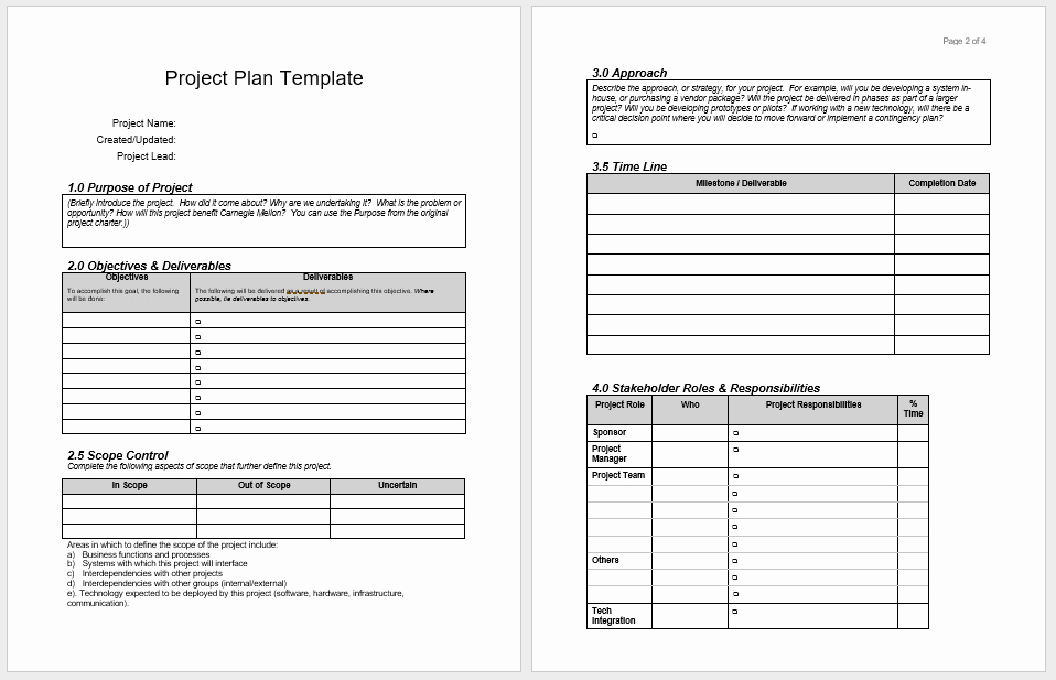 Project Plan Template Word Fresh Project Plan Templates 18 Free Sample Templates