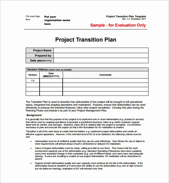 Project Plan Template Word Lovely Transition Plan Template Project Management – Printable