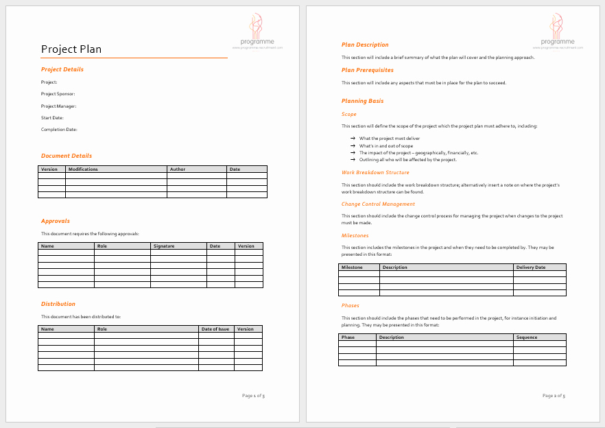 Project Plan Template Word Luxury Project Plan Templates 18 Free Sample Templates
