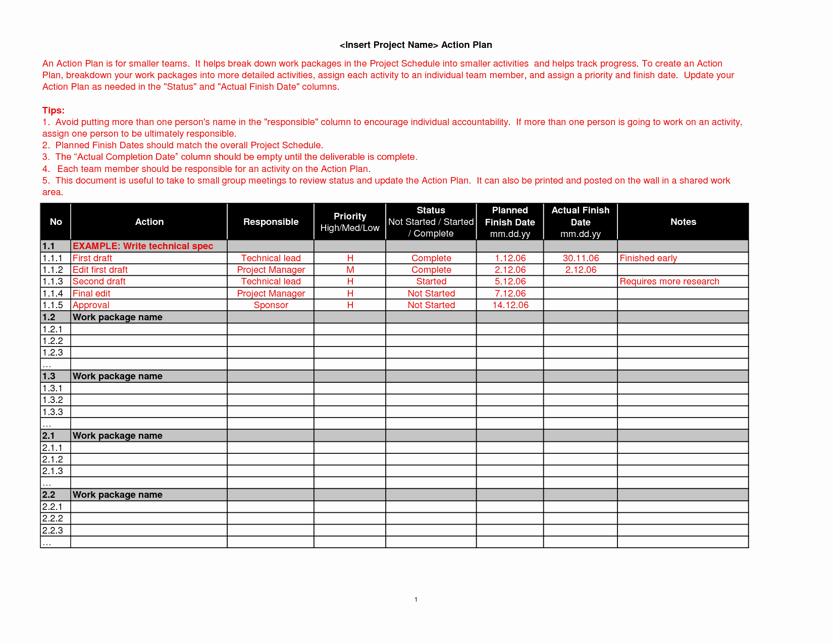 Project Work Plan Template Beautiful Brilliant Action Plan Template Example for Business