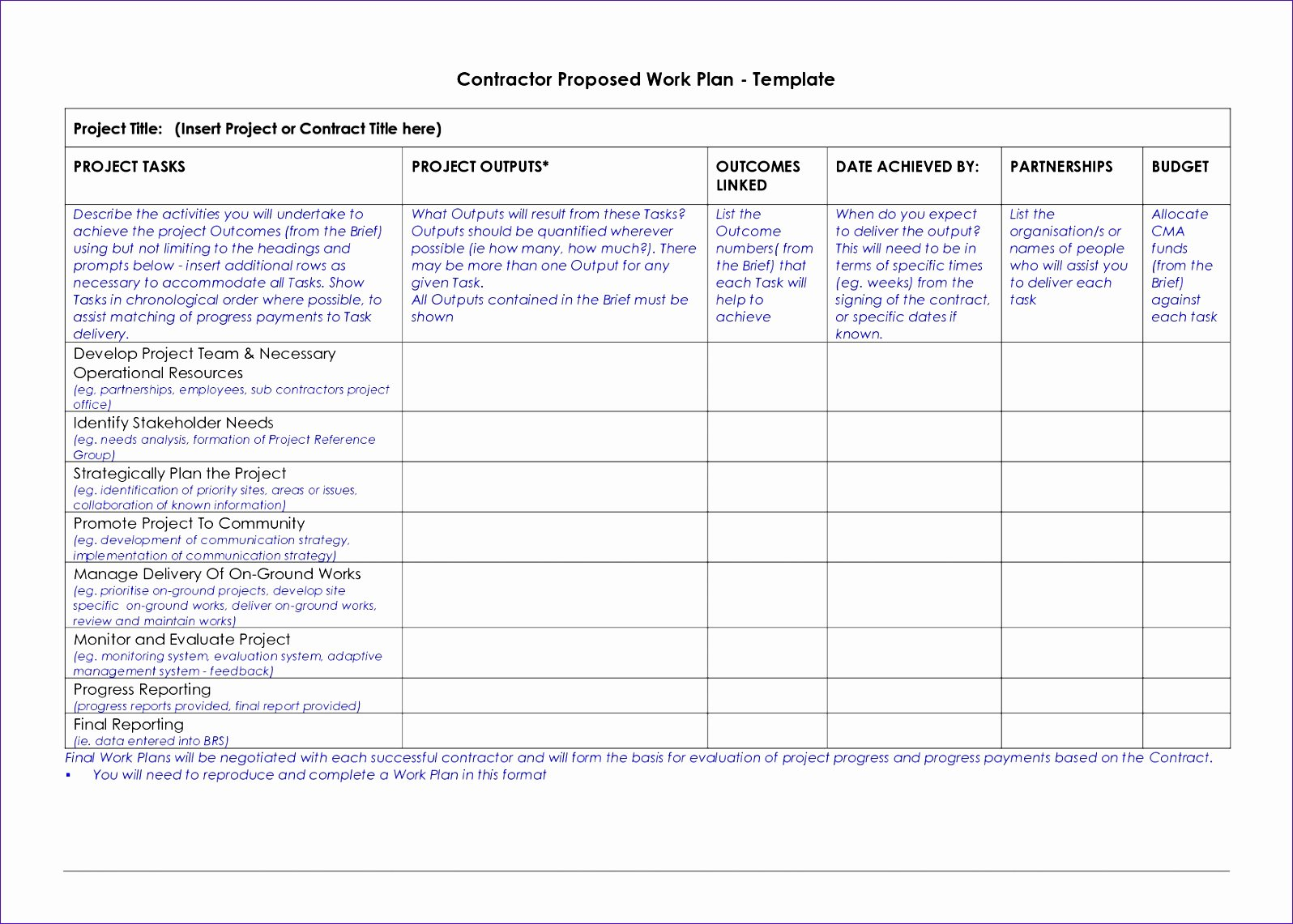 Project Work Plan Template Elegant 6 Construction Schedule Template Excel Free Download