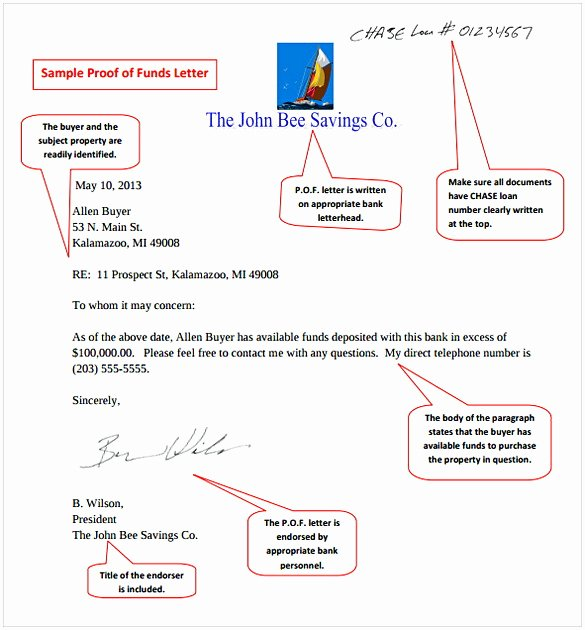Proof Of Funds Letter Template Beautiful Proof Of Funds Letter Sample