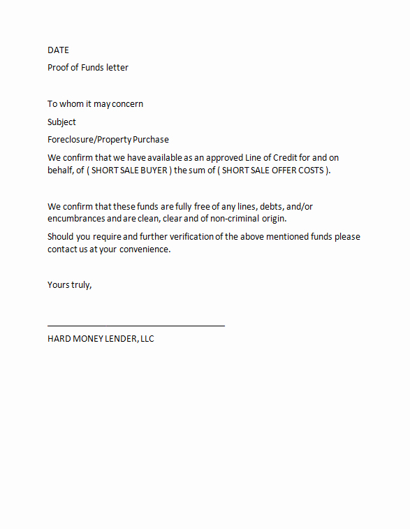 Proof Of Funds Letter Template Best Of 25 Best Proof Of Funds Letter Templates Template Lab