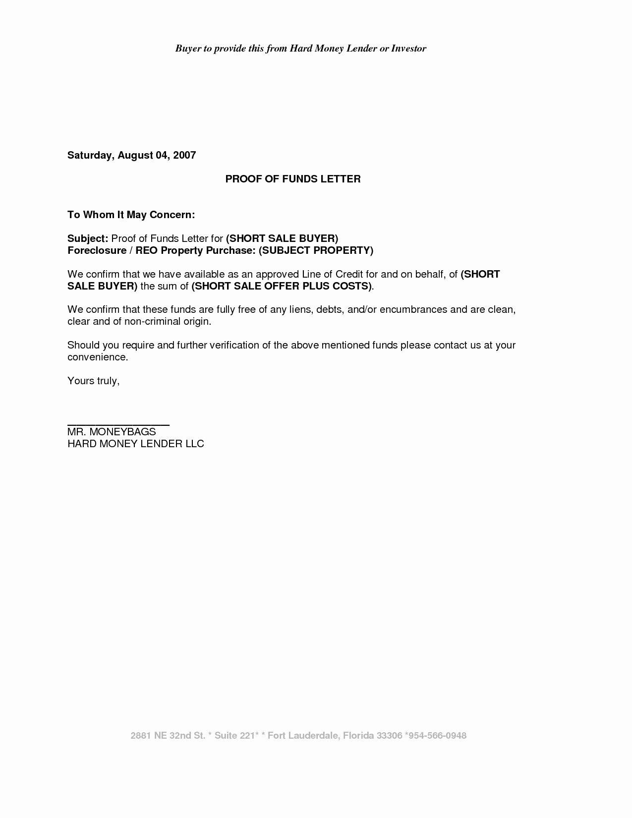 Proof Of Funds Letter Template Fresh Vehicle Repossession Letter Template Samples