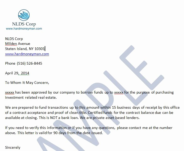Proof Of Funds Letter Template Inspirational Sample the wholesaling Titan