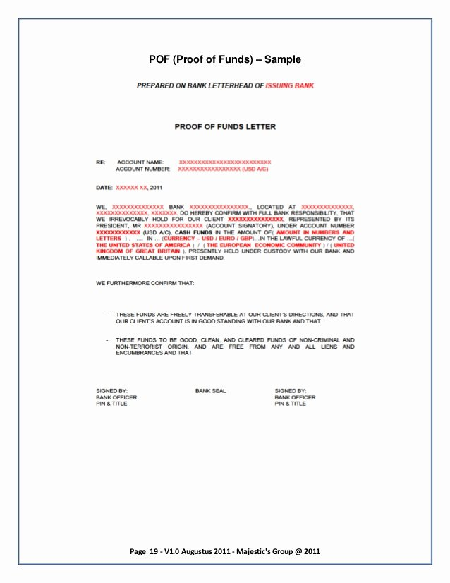 Proof Of Funds Letter Template Inspirational the Guide About Private Placement Program Mgd