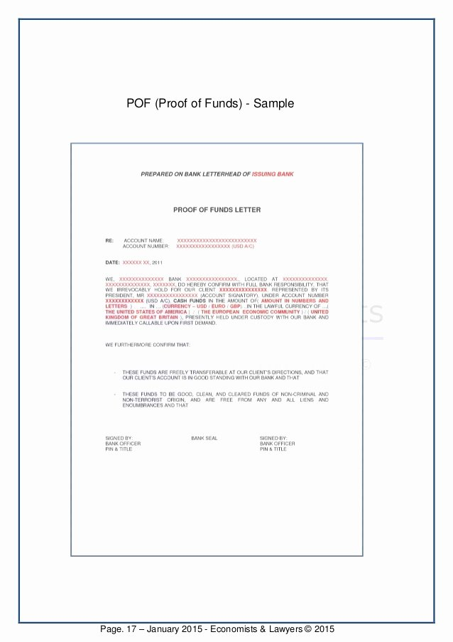 Proof Of Funds Letter Template Lovely E Book English to Invest In Private Placement
