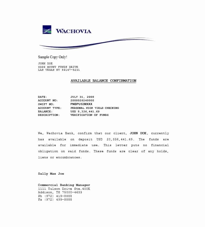 Proof Of Funds Letter Template Luxury 25 Best Proof Of Funds Letter Templates Template Lab