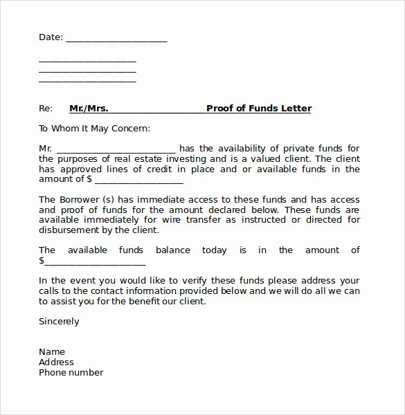 Proof Of Funds Letter Template Luxury Sample Proof Of Funds Letter 7 Download Free Documents