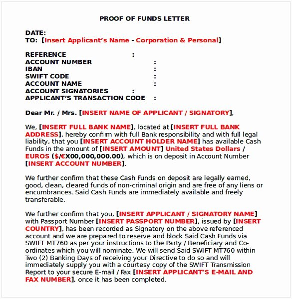 Proof Of Funds Letter Template New Proof Of Funds Letter Sample