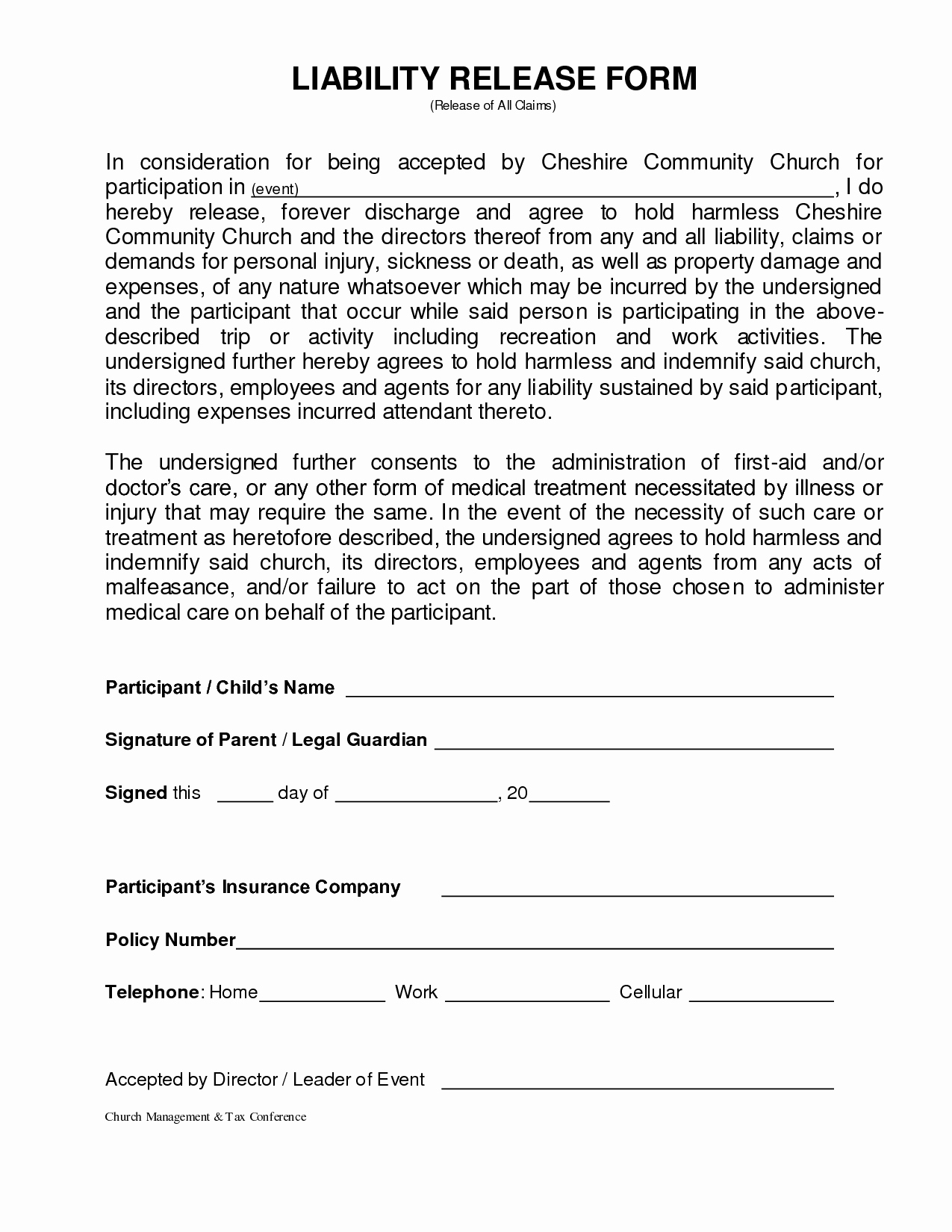 Property Release form Template Best Of General Liability Release form Template Pics – General