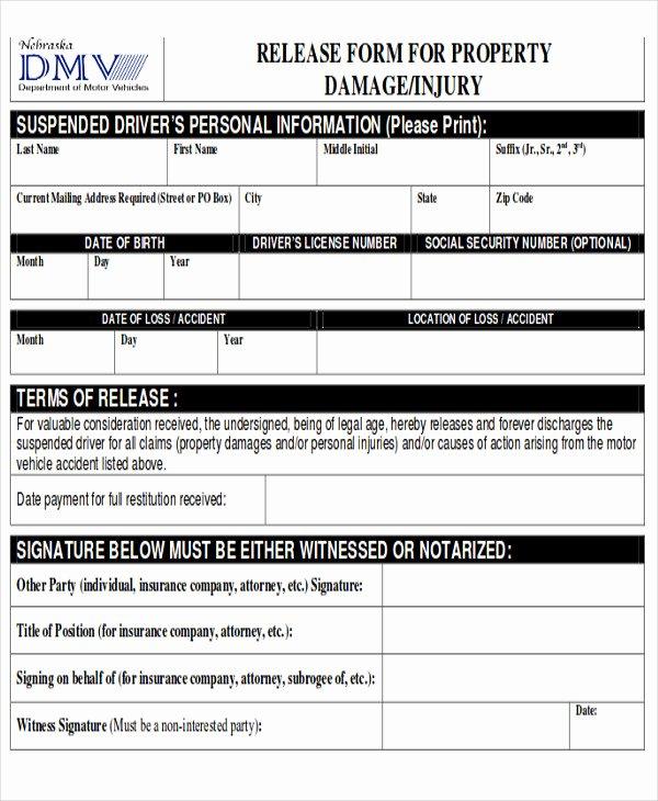 property damage release form