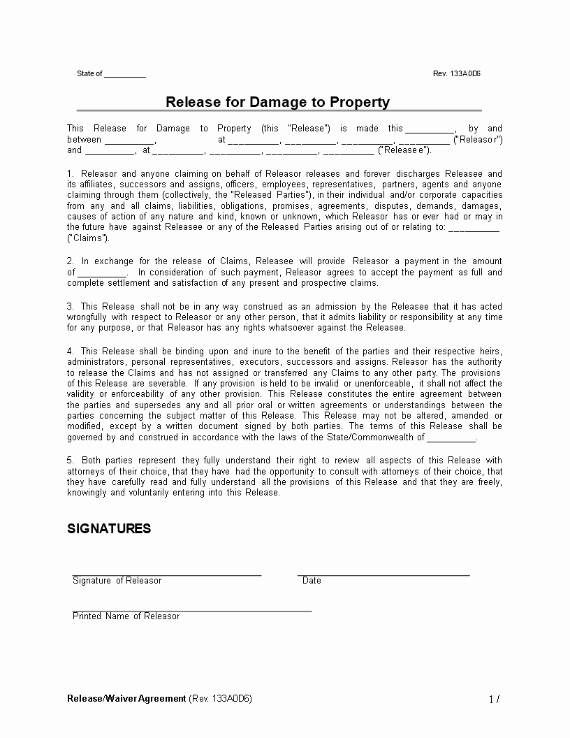 Property Release form Template Elegant Release Waiver Agreement Damage to Property