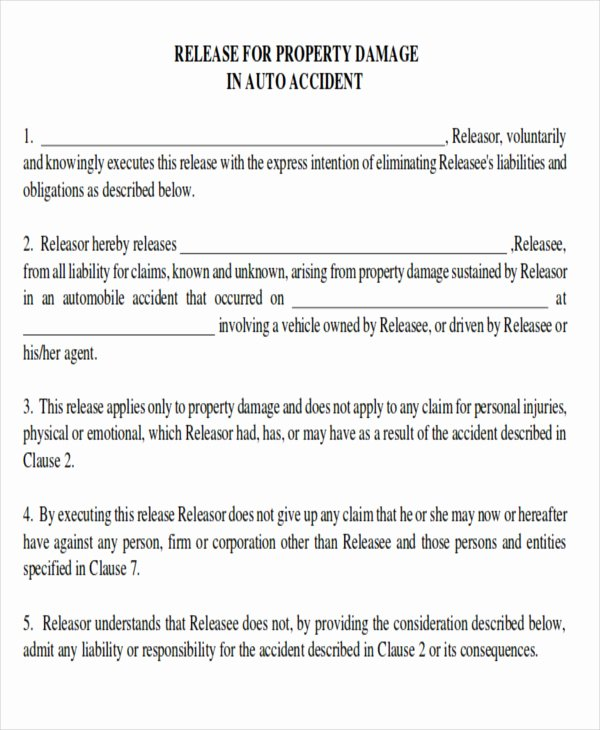 Property Release form Template Inspirational Sample Property Damage Release form 9 Examples In Word Pdf