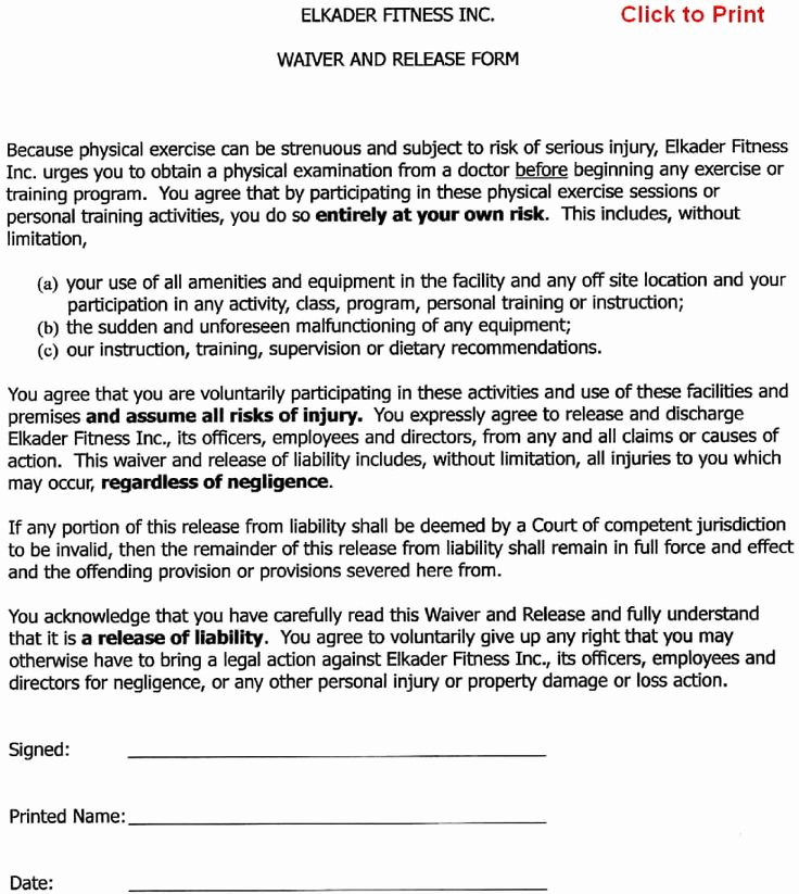 Property Release form Template Lovely Printable Sample Release and Waiver Liability Agreement