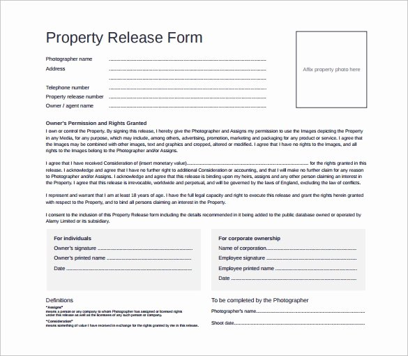 Property Release form Template Lovely Sample Property Release form 14 Download Free Documents