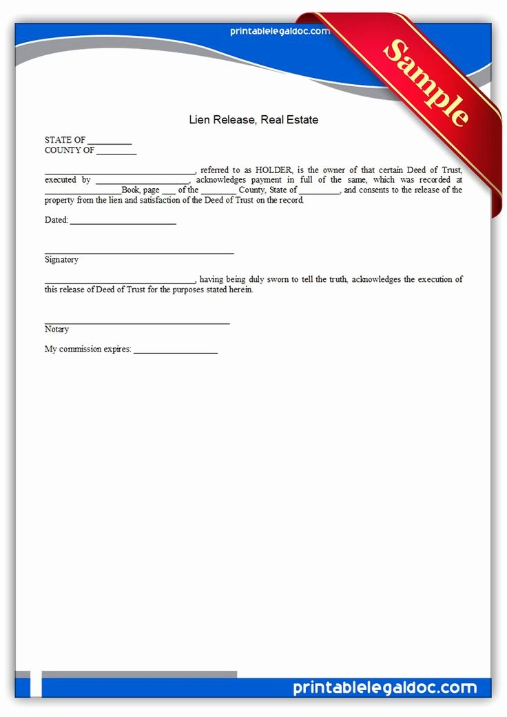 Property Release form Template Luxury Free Printable Lien Release Real Estate