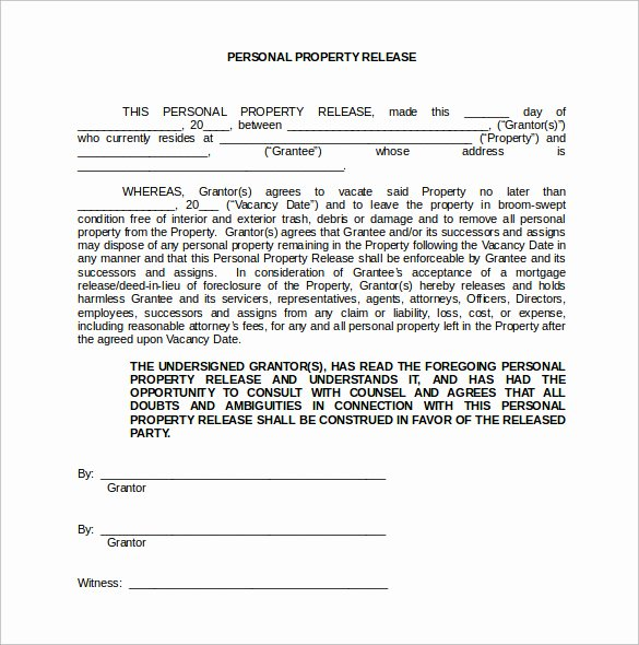 Property Release form Template Luxury Property Release forms why It is Not the Best Time for
