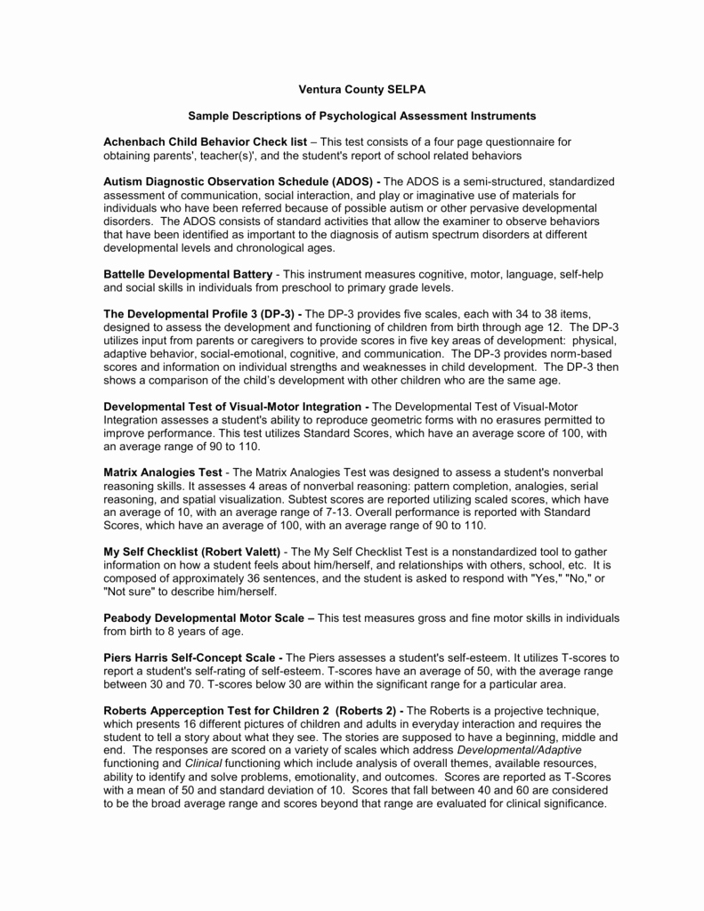 Psychological assessment Report Template Best Of Sample Descriptions Of Psychological