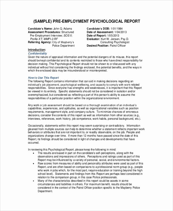 Psychological assessment Report Template Fresh 10 Sample Psychological Reports Pdf Word Pages