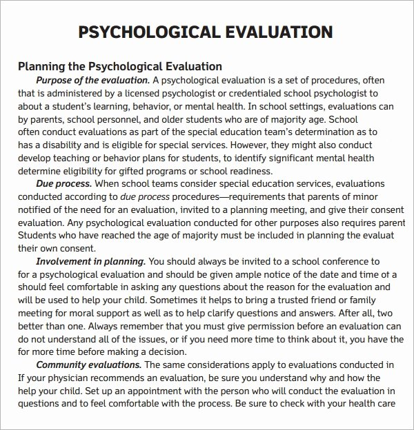 Psychological assessment Report Template Fresh Free 7 Sample Psychological Evaluation Templates In Pdf