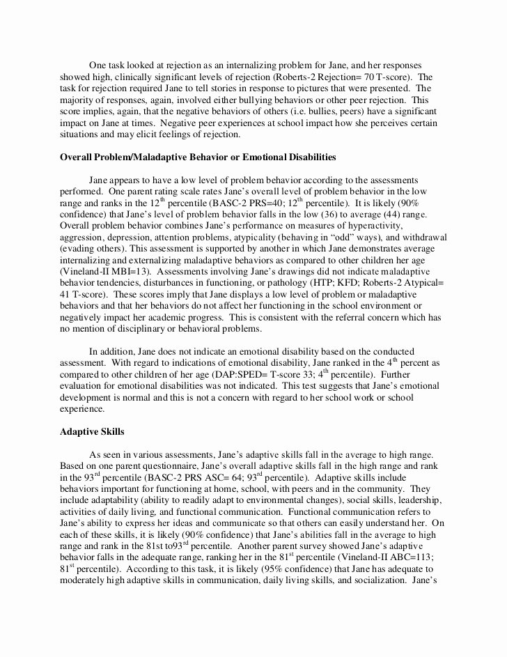 Psychological assessment Report Template Inspirational Full Psychological Report Sample
