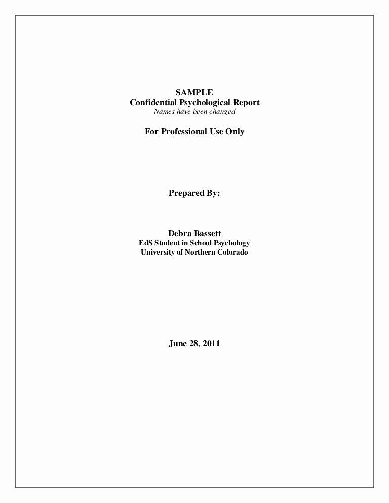 Psychological assessment Report Template Lovely Full Psychological Report Sample