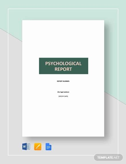 Psychological assessment Report Template New 10 Sample Psychological Reports Pdf Word Pages
