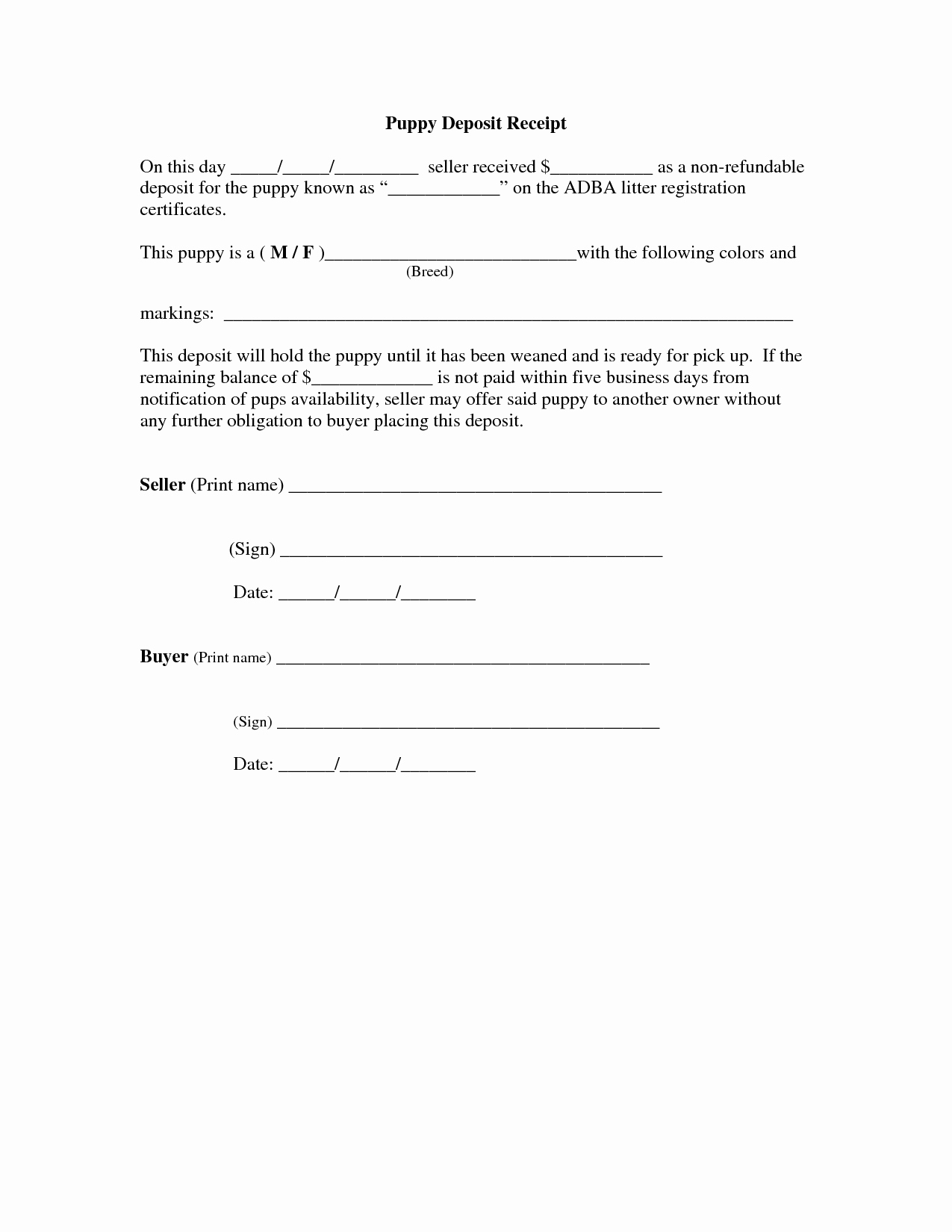 Puppy Sale Contract Template Awesome Of Car Deposit Agreement Template Car Sale Deposit