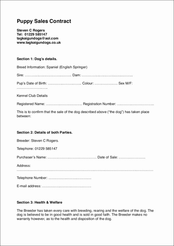 Puppy Sale Contract Template Best Of 25 Sales Contract Template Docs Word