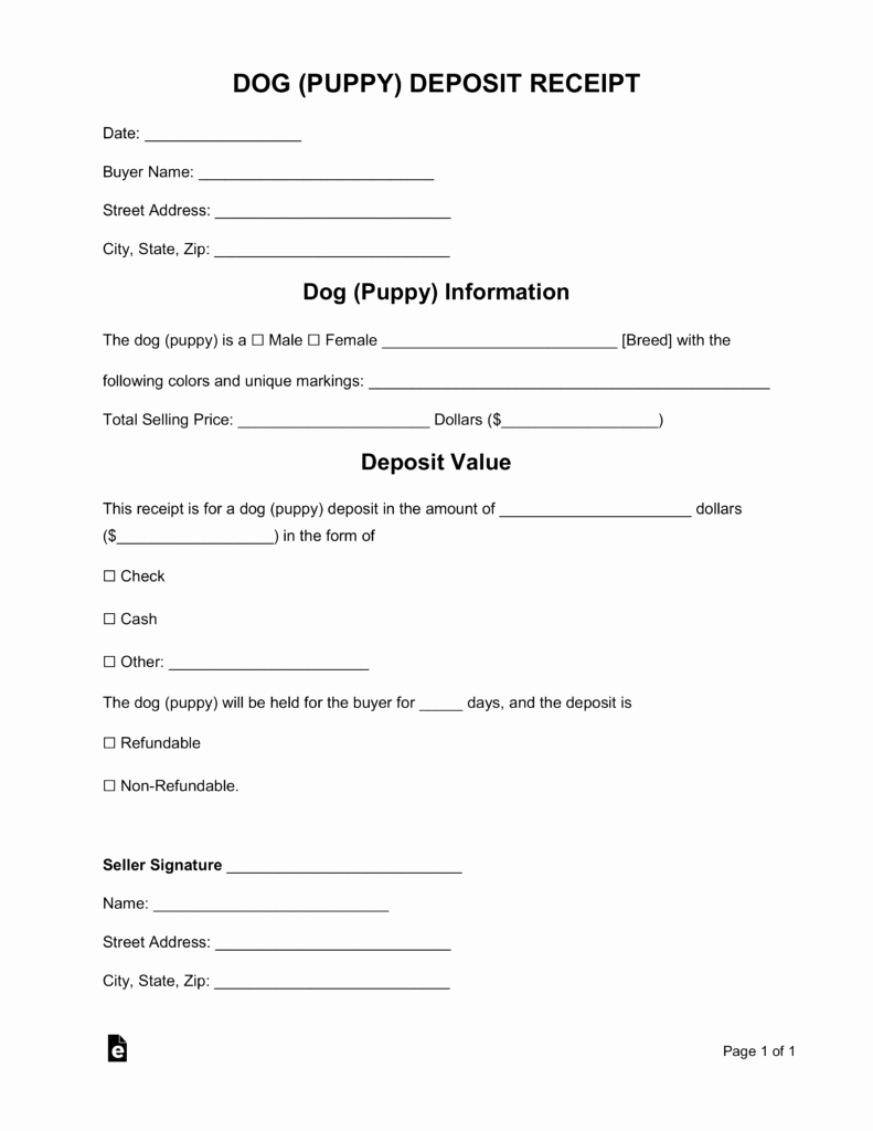 Puppy Sale Contract Template Luxury Free Dog Puppy Deposit Receipt Template Word