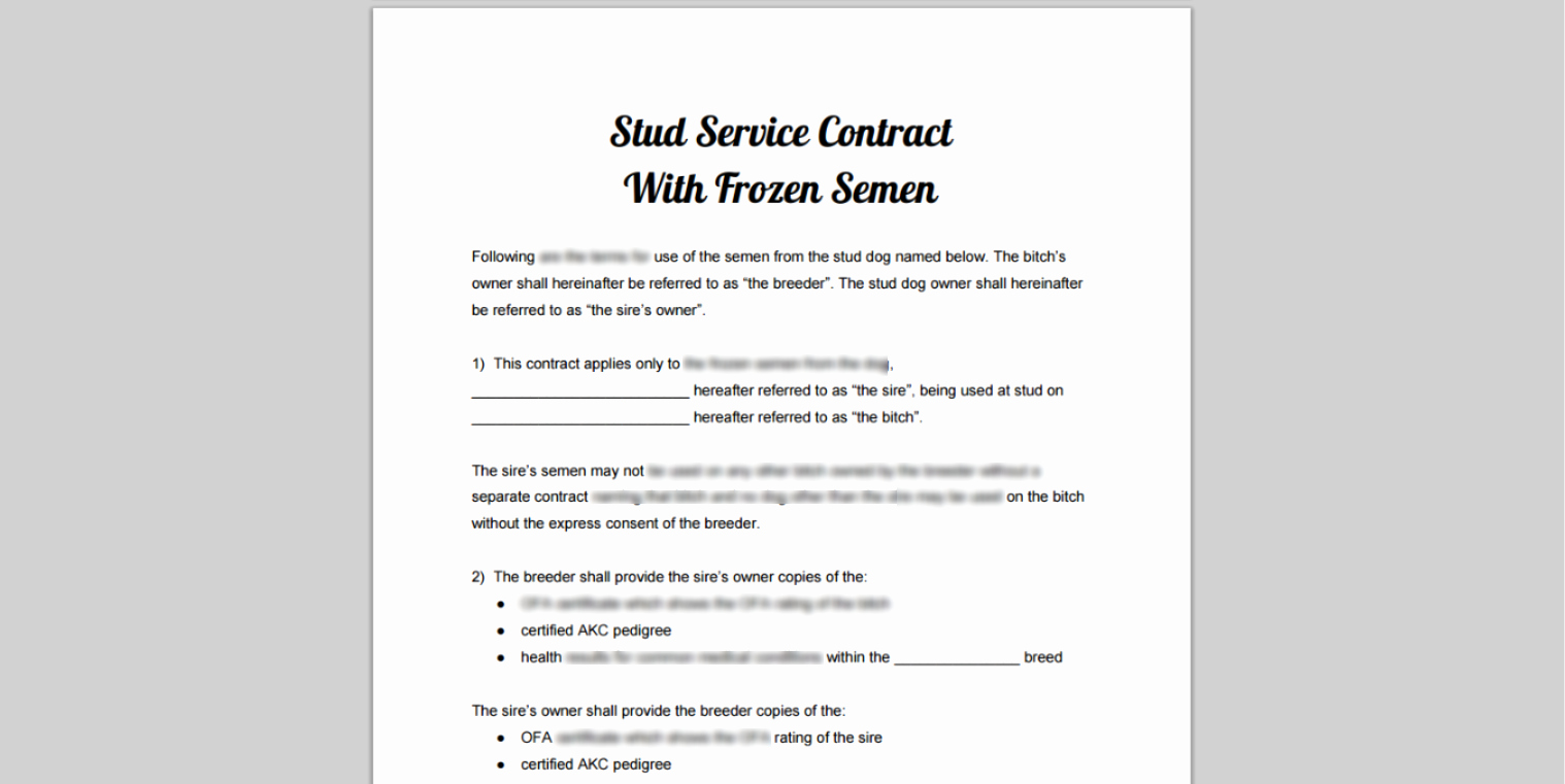 Puppy Sale Contract Template Luxury Stud Service Dog Breeding & Puppy Sale Contract Library