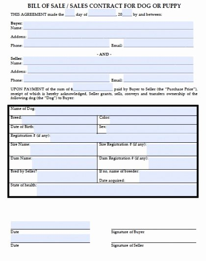 Puppy Sales Contract Template Fresh Download Bill Of Sale for A Dog Puppy Wikidownload