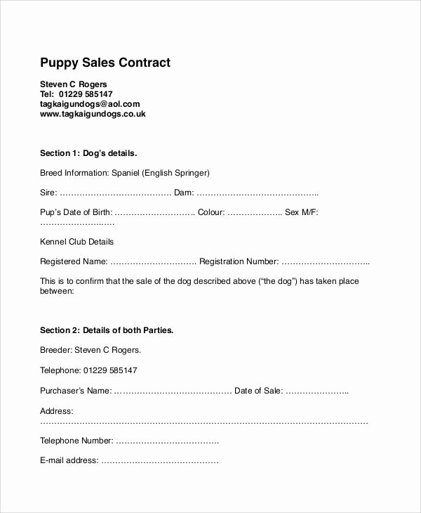 Puppy Sales Contract Template Fresh Sample Puppy Sales Contract 8 Examples In Word Pdf