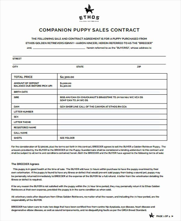 Puppy Sales Contract Template Inspirational 7 Puppy Sales Contract Samples & Templates In Pdf