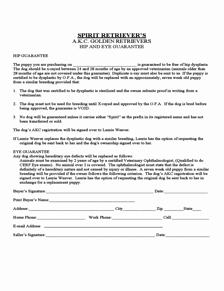 Puppy Sales Contract Template Inspirational Puppy Sales Contract form Colorado Free Download