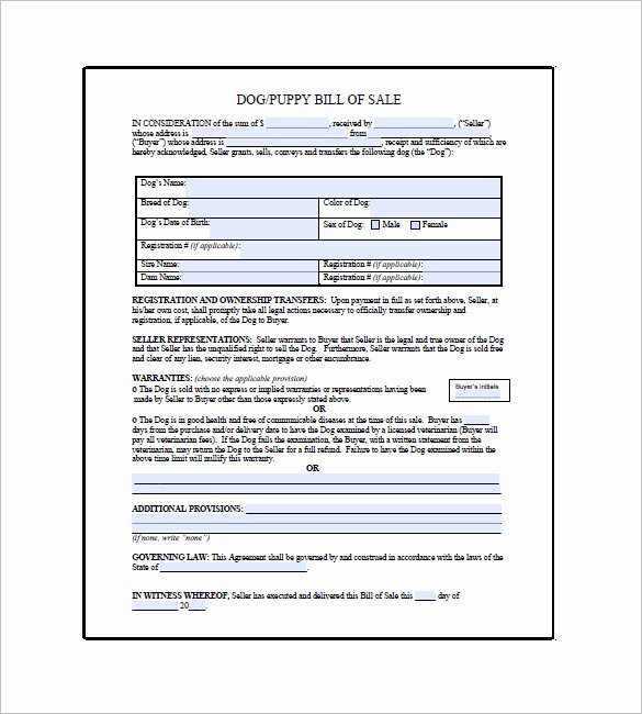 Puppy Sales Contract Template Lovely Dog Bill Of Sale Template – 13 Free Word Excel Pdf