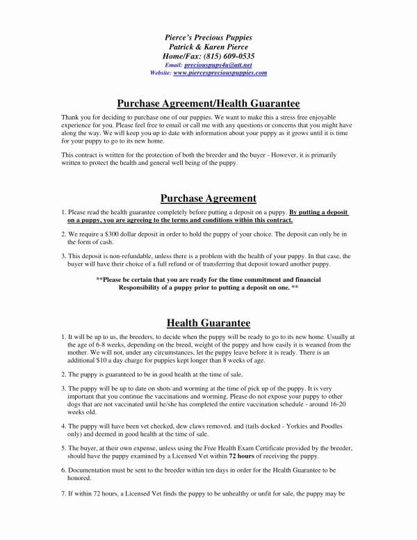 Puppy Sales Contract Template Lovely Free 11 Puppy Sales Contract Template In Pdf
