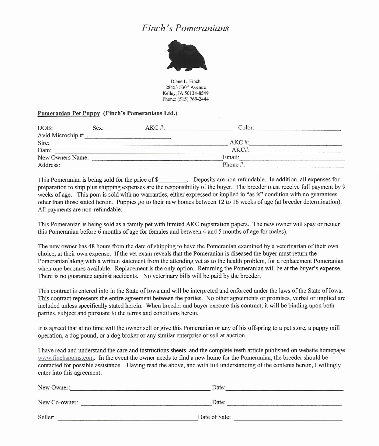 Puppy Sales Contract Template New Breeding Pomeranians