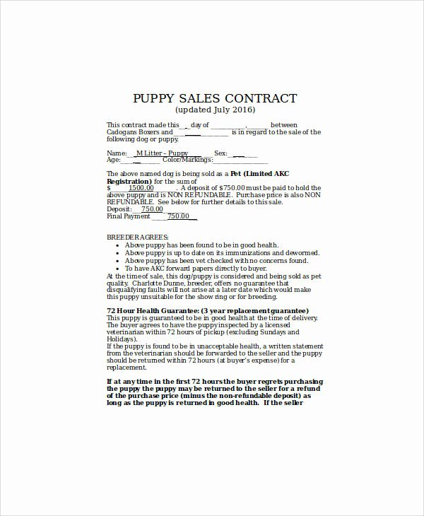 Puppy Sales Contract Template New Sample Puppy Sales Contract 8 Examples In Word Pdf