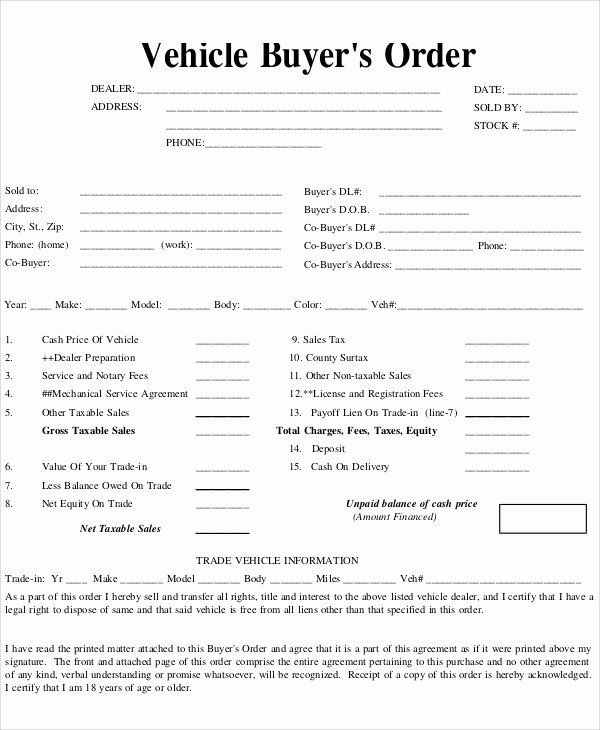 Purchase order Template Pdf New Vehicle Purchase order Template the Story Vehicle