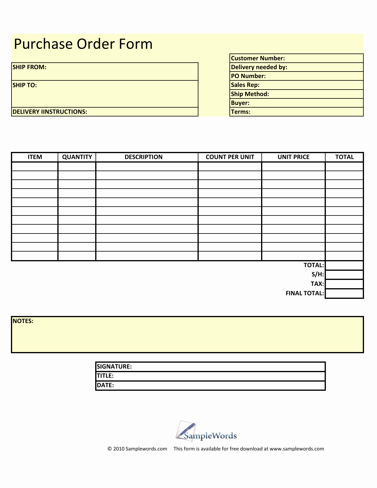 Purchase order Template Pdf Unique Download Blank Purchase order form Template Excel