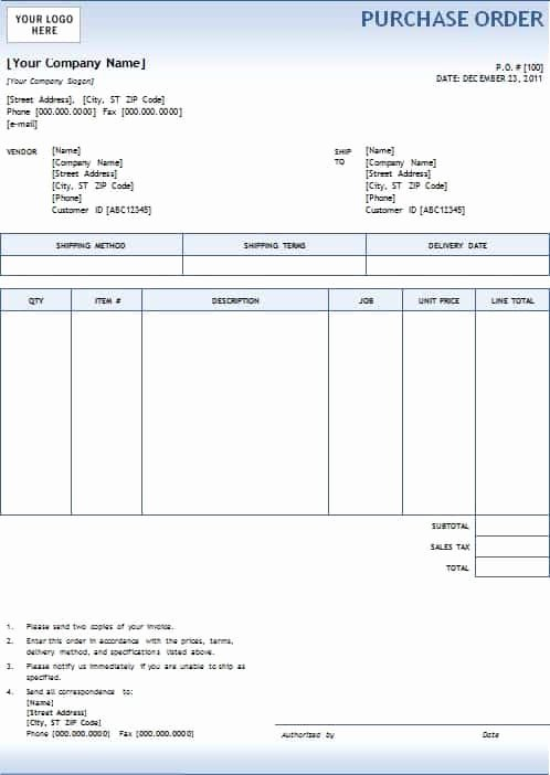 Purchase order Template Word Beautiful 5 Purchase order Templates Excel Pdf formats