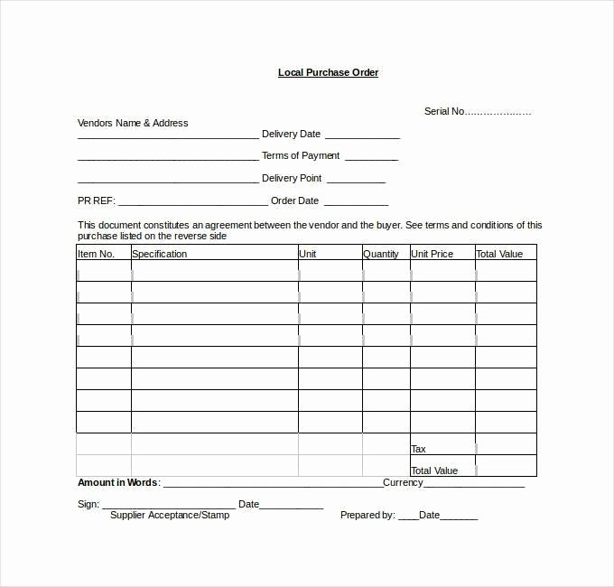 Purchase order Template Word Luxury 53 Purchase order Examples Pdf Doc