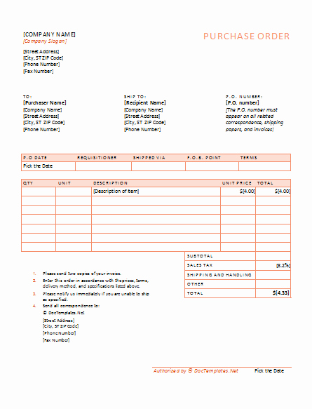 Purchase order Template Word New 40 Free Purchase order Templates forms